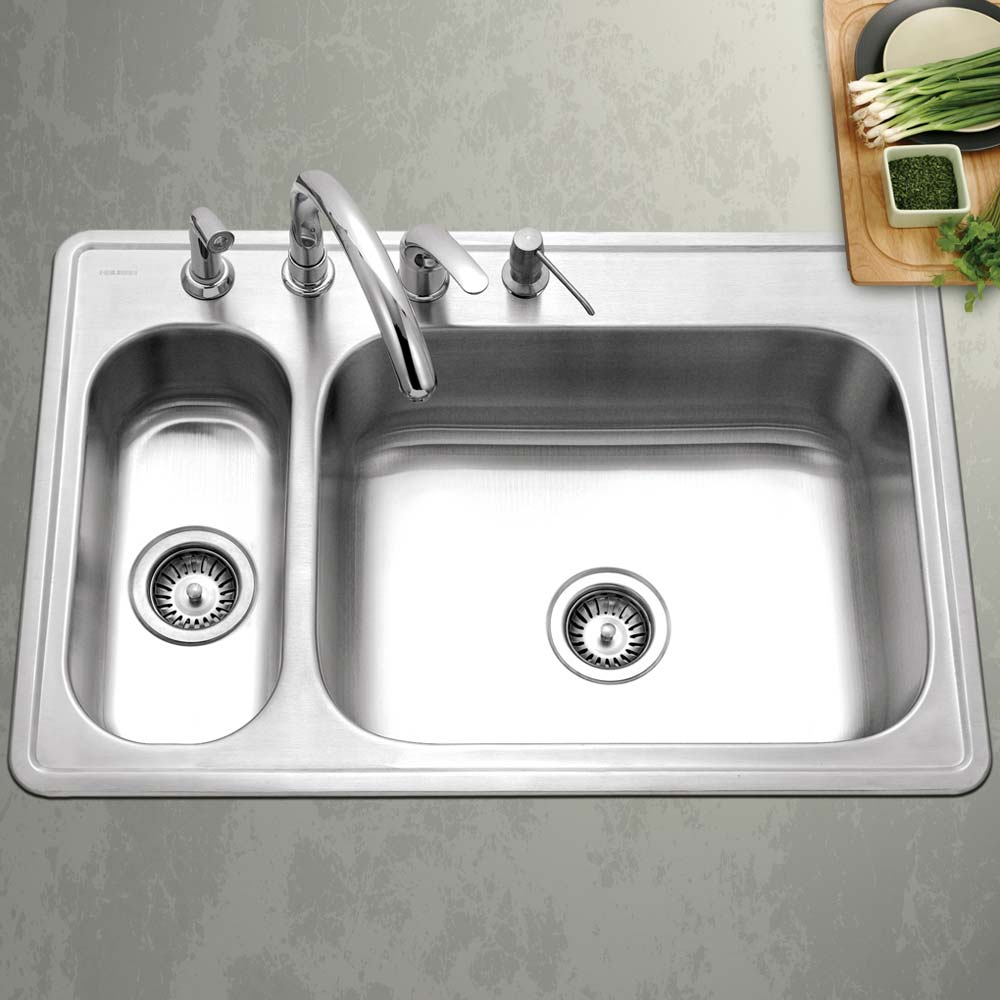 Top Mount Stainless Steel 4 Hole 80 20 Double Bowl Kitchen Sink Houzer