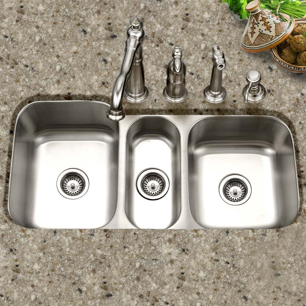 Gourmet Undermount Stainless Steel Triple Bowl Kitchen Sink Houzer